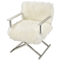 Hair to the Throne Stainless Steel with Natural Sheepskin Chair Home Decor