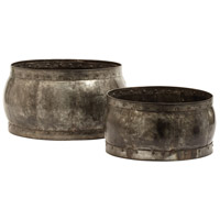 Fortress Distressed Silver Barrel Dish