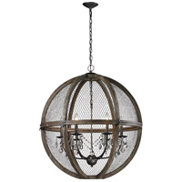 Renaissance Invention 6 Light 30 inch Aged Wood and Bronze Chandelier Ceiling Light, Large