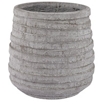 Corrugated Light Grey Stone Pot