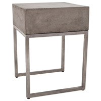 Bulwark 20 X 16 inch Waxed Concrete and Stainless Steel Side Table