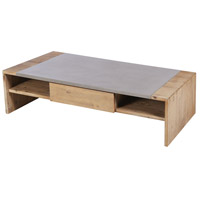 Tara 28 X 14 inch Polished Concrete and Blonde Acacia Coffee Table