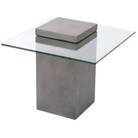 Onset 24 X 21 inch Polished Concrete and Clear Glass Outdoor Accent Table, Block