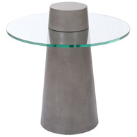 Onset 24 X 24 inch Polished Concrete and Clear Glass Outdoor Accent Table, Cone