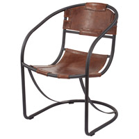 Retro Tobacco and Black Iron Lounger Chair, Round Back