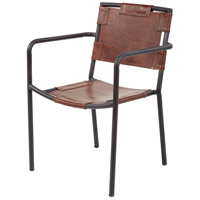 Industrial Tobacco and Black Iron Arm Chair Home Decor