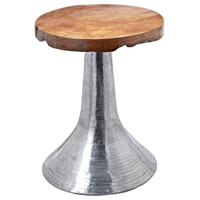 Hammered 16 X 16 inch Natural Teak and Aluminum Table Home Decor