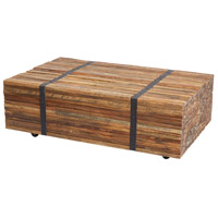 Strapped 43 X 28 inch Natural Teak and Iron Coffee Table Home Decor