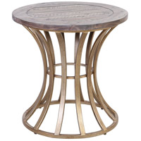 Meditation 24 inch Soft Gold/Solid Grey Pine Accent Table