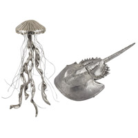 Jelly Fish And Horseshow Crab Silver Decor
