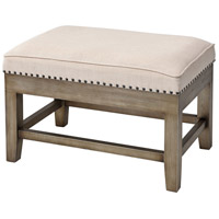 Midnight Cowboy 17 inch Cream Linen and Antiqued Silver Stool