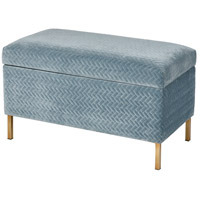 Shake Blue Chenille and Gold Storage Bench