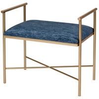 Blue Grand Navy Blue Chenille and Gold Bench