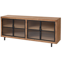 Institution 71 inch Natural Wood Tone and Black Media Unit