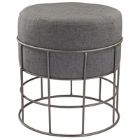 Pewter 18 inch Pewter and Grey Stool