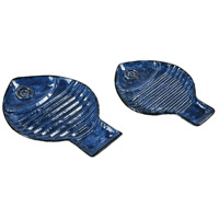 Swimmingly Navy and Navy Glaze Decorative Dishes, Set of 2
