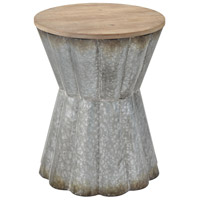 Crinkle 16 inch Galvanized Steel and Reclaimed Wood Side Table