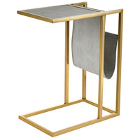 Kingsroad 24 X 19 inch Gold and Light Grey Accent Table, with Magazine Holder