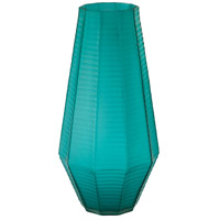 Stacked Cuts Teal Vase