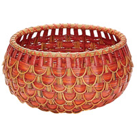 Fish Scale 17 X 9 inch Basket in Red and Orange, Small, Small
