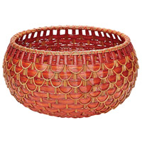 Fish Scale 22 X 12 inch Basket in Red and Orange, Medium, Medium
