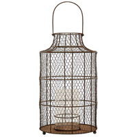 Chicken Wire 20 inch Aged Iron Hurricane Portable Light, Small