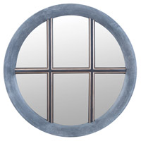 Monaco 50 X 50 inch Faux Concrete,Antique Smoke,Warm Pewter Wall Mirror Home Decor, Round