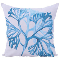 Blue Fan 22 inch Handpainted Art Pillow