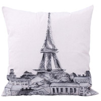 Parisian Cityscape 22 inch Handpainted Art Pillow