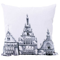 Amsterdam 22 inch Handpainted Art Pillow Cover, II