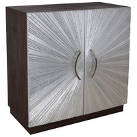 Silver Starburst Silver Leaf and Brown Stain Cabinet