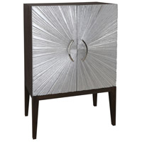 Silver Starburst Silver Leaf and Brown Stain Bar Cabinet