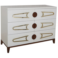 Bang Cappuccino Foam and Polished Brass and Brown Stain Chest, 3 Drawer