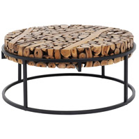 Suar Slice 37 inch Black/Natural Coffee Table