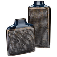 Dotted Relief Crystal Gold and Cobalt Blue Vase, Rectangular