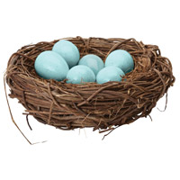 Dimond Home 857098 European Starling Blue Decorative Eggs In Nest thumb