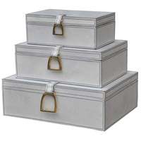 Dimond Home 8819-028/S3 Signature 12 X 9 inch White and Brass Box, Nested