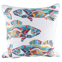 School Of Fish 24 inch Digital Print with Embroidery Pillow Cover