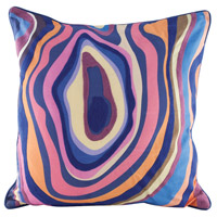 Vibrant Agate 24 inch Digital Print with Embroidery Pillow Cover