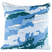 Blue Topography 24 inch Digital Print with Embroidery Pillow Cover