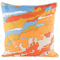 Orange Topography 24 inch Digital Print with Embroidery Pillow Cover