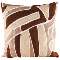 Brown Neutrals 24 inch Embroidery Pillow Cover