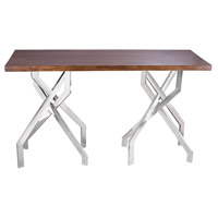 Stick Leggy 48 X 18 inch Sheemsham Wood and Stainless Steel Console Table