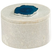 Dimond Home 8989-022 Antilles 6 X 6 inch White Marble and Blue Agate Box, Round thumb