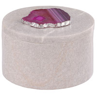 Dimond Home 8989-024 Antilles 6 X 6 inch White Marble and Pink Agate Box, Round thumb