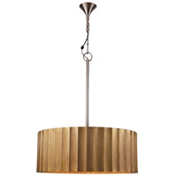 Ribbed 2 Light 30 inch Gold Pendant Ceiling Light, Large