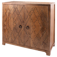 Plaid Natural Mango and Bronze Nail Head Cabinet