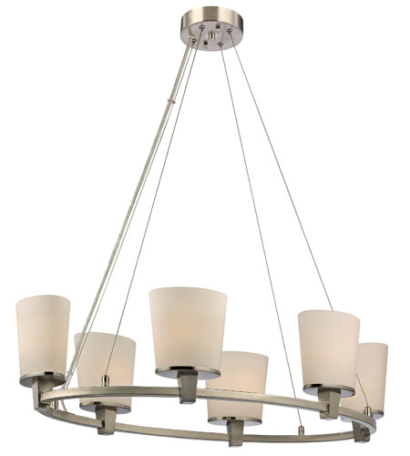 Dolan Designs Ellipse 6 Light Chandelier in Satin Nickel 1090-09 photo