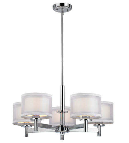 Double Organza 5 Light 26 Inch Chrome Chandelier Ceiling