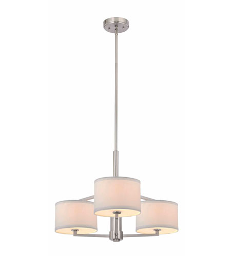 Dolan Designs 1887-09 Monaco 3 Light 24 inch Satin Nickel Chandelier Ceiling Light in White Fabric photo